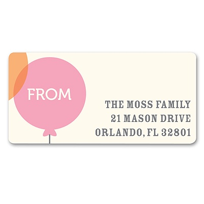 Floating Pink Balloon Baby Address Labels