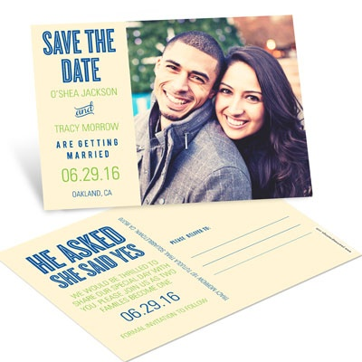She Said Yes Save the Date Postcards