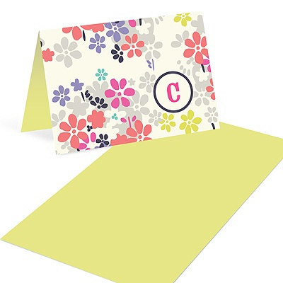 Monogram Blossoms Mini Note Cards