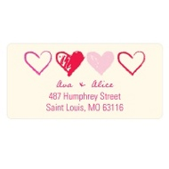 Sketched Valentine's Day Heart Address Labels