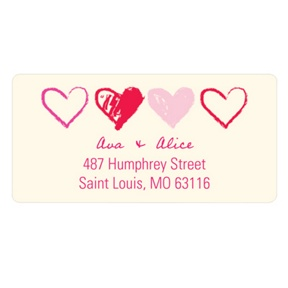 Sketched Valentine's Day -- Heart Address Labels