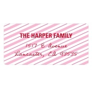 Lovely Diagonal Stripes Valentine Address Labels