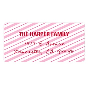 Lovely Diagonal Stripes -- Valentine Address Labels