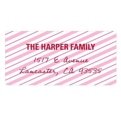 Lovely Diagonal Stripes Valentine Address Labels