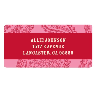 Pink Paisley -- Valentine Address Labels