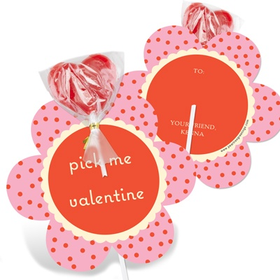 Polka Dot Petals -- Valentine's Day Candy Cards