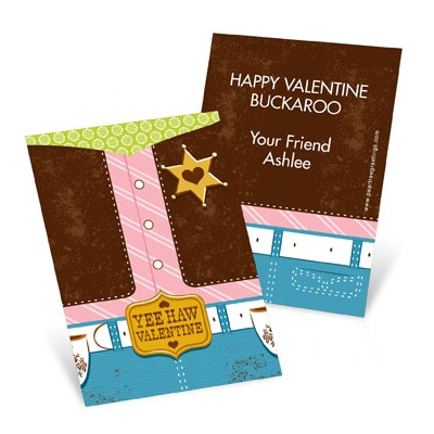 Yee Haw Cowgirl Valentine's Day Cards for Kids