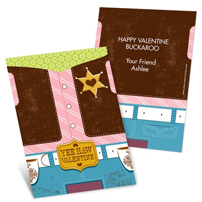 Yee Haw Cowgirl -- Valentine's Day Kids Cards