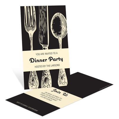 Stylish Silverware Dinner Party Invitations