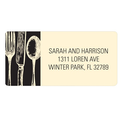 Stylish Silverware Unique Return Address Labels