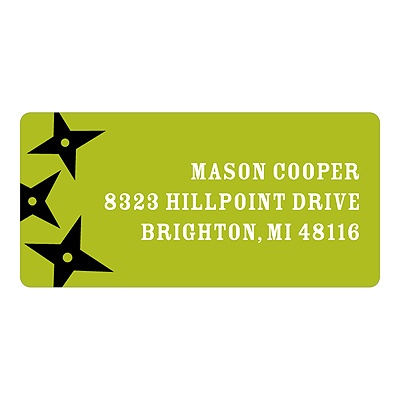 Flying Stars in Green -- Kids Return Address Labels
