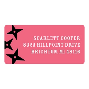 Flying Stars in Pink -- Kids Return Address Labels