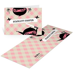 Sneaky Ninjas in Pink -- Kids Thank You Cards