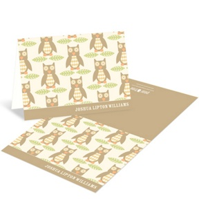 Vintage Owl Pattern -- Adoption Thank You Cards