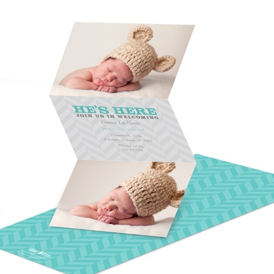 Trendy Chevron Dreams Birth Announcements