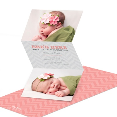 Chic Chevron Dreams Birth Announcements