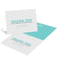 Trendy Chevron Stripes Adoption Thank You Cards