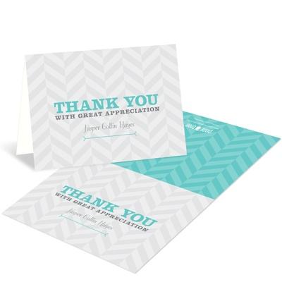 Trendy Chevron Stripes Adoption Thank You Cards