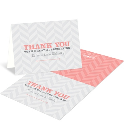 Chic Chevron Stripes Trendy Thank You Cards