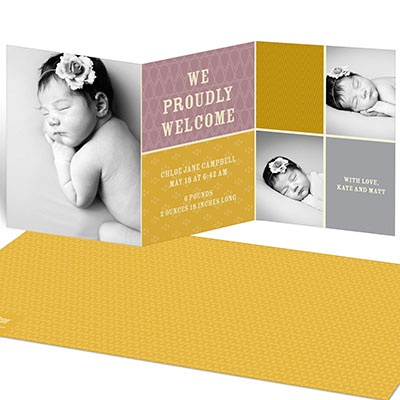 Sweet Squares Girl Birth Announcements