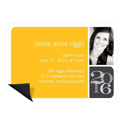 Blocked Year Photo Magnet Mini Graduation Announcements