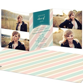 Muted Stripes Tri-fold -- Graduation Announcements