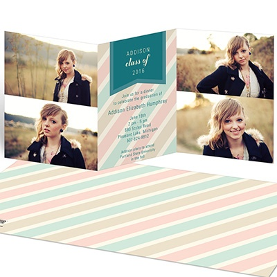 Muted Stripes Tri-fold Graduation Announcements