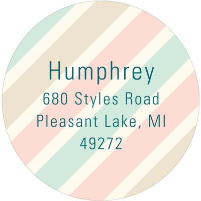 Muted Stripes -- Round Return Address Labels