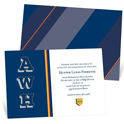 Sophisticated Stripes -- Personalized Graduation Invitations