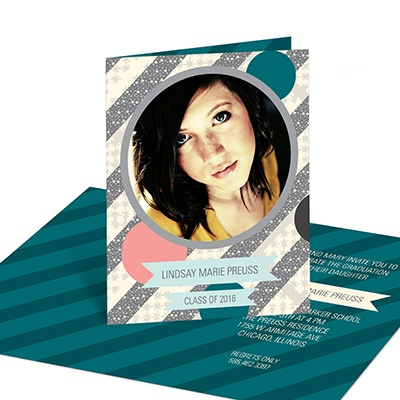 Sassy Stripes -- Photo Graduation Party Invitations