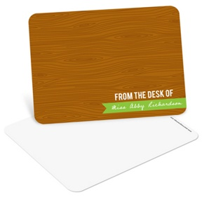 Custom Wood Grain Greeting -- Teacher Stationery