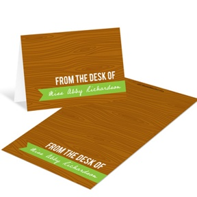 Custom Wood Grain Mini Note Cards -- Teacher Stationery