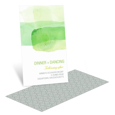 Vivid Green Watercolor Reception Invitation Cards
