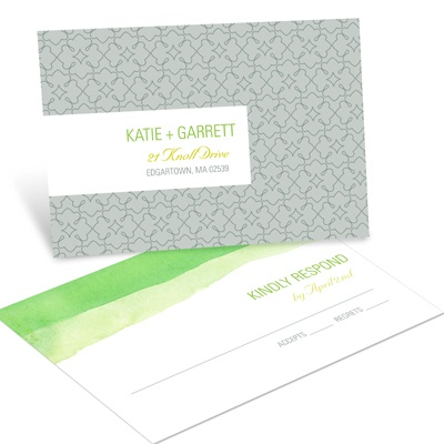 Vivid Green Watercolor RSVP Postcards