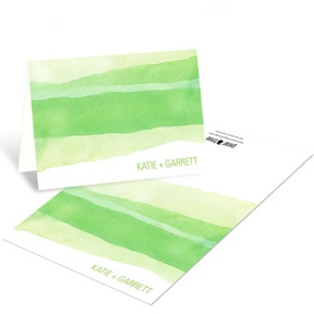 Vivid Green Watercolor -- Elegant Thank You Notes