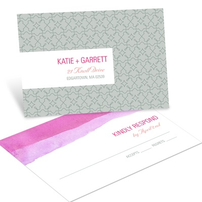 Vivid Pink Watercolor Wedding RSVP Postcards