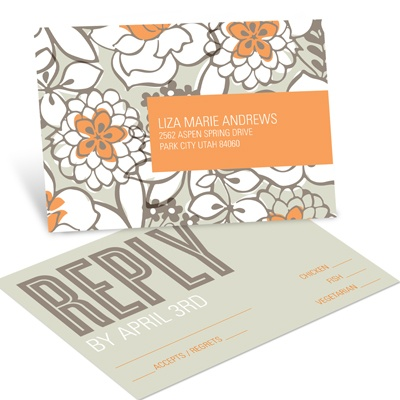 Blissful Blooms -- Wedding Reply Postcards