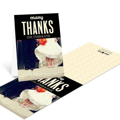 many thanks wedding photo thank you card