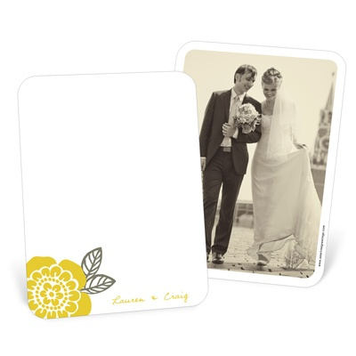 grey and yellow photo thank you card