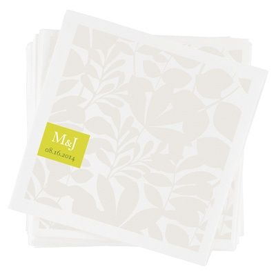 Floral Monogram Custom Wedding Napkins