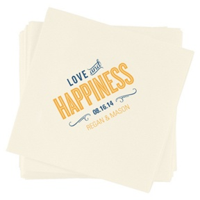 Happiness Is -- Wedding Reception Napkins