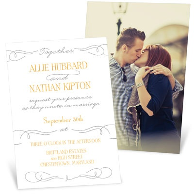 Swirling Vintage Script Wedding Invitations