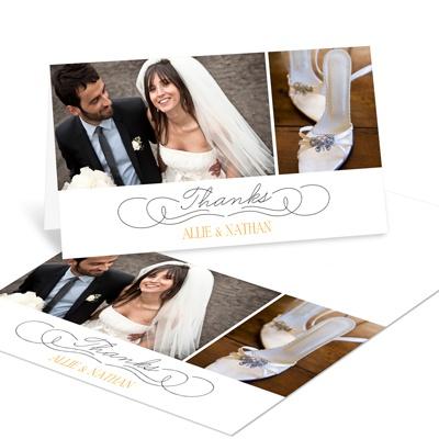 Dual Photo Display Wedding Thank You Notes
