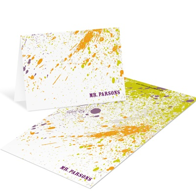 Splashed Paint Green Mini Note Cards