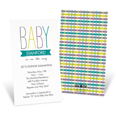 Precious Plaid -- Customized Baby Shower Invitations