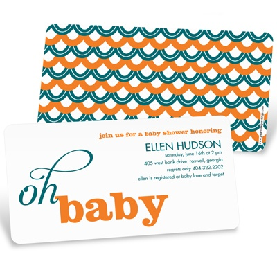 Sweetly Strung Scallops Baby Shower Invitations