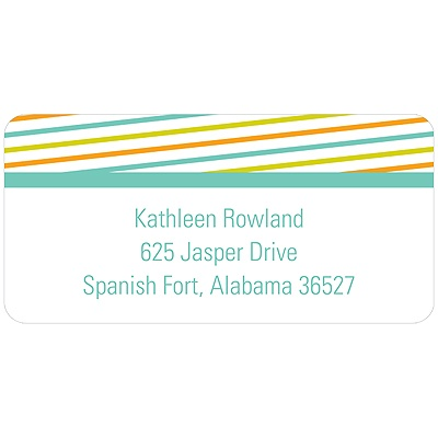 Diagonal Border Baby Address Labels