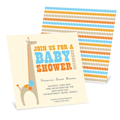 Dotted Shower - Giraffe Baby Shower Invites