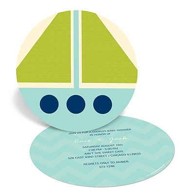 Nautical Newborn -- Sailboat Baby Shower Invitations