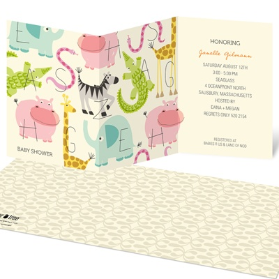Alphabet Animals Baby Shower Invitations